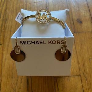 Michael Kors Bangle Bracelet and Earrings LOT